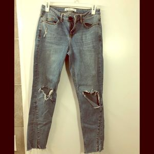 Zara basic denim distressed jeans